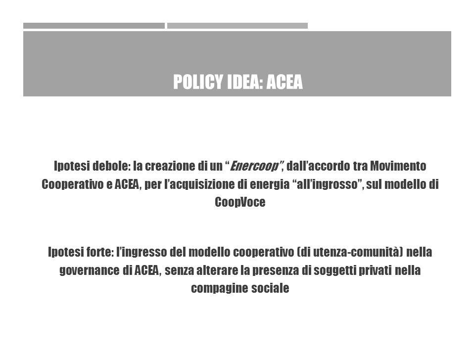 POLICY IDEA: ACEA Ipotesi debole: la creazione di un Enercoop , dall'accordo tra Movimento Cooperativo e ACEA, per l'acquisizione di energia all'ingrosso , sul modello di CoopVoce Ipotesi forte: l'ingresso del modello cooperativo (di utenza-comunità) nella governance di ACEA, senza alterare la presenza di soggetti privati nella compagine sociale