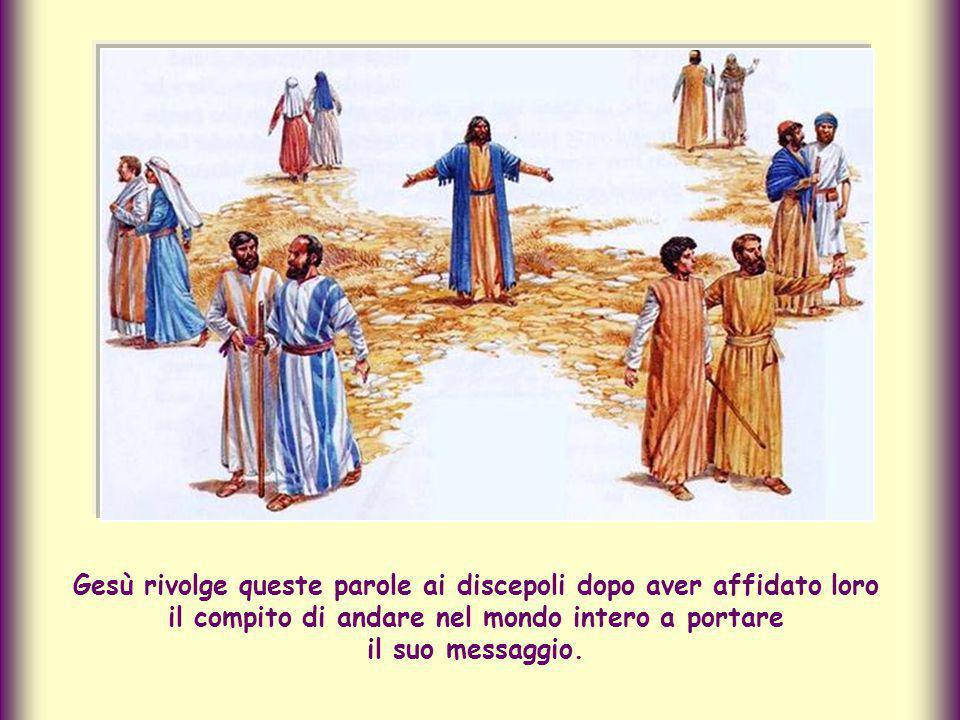 e lo conclude riportando le parole citate, con le quali Gesù promette che rimarrà sempre con noi, anche dopo essere tornato al Cielo.