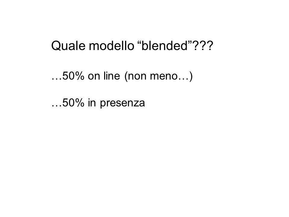 """Quale modello """"blended""""??? …50% on line (non meno…) …50% in presenza"""