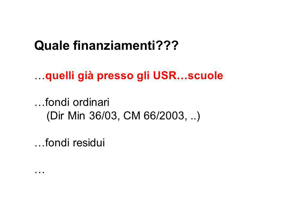 Quale finanziamenti??? …quelli già presso gli USR…scuole …fondi ordinari (Dir Min 36/03, CM 66/2003,..) …fondi residui …