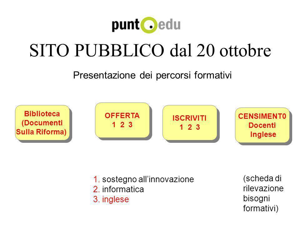 SITO PUBBLICO dal 20 ottobre Presentazione dei percorsi formativi CENSIMENT0 Docenti Inglese CENSIMENT0 Docenti Inglese ISCRIVITI 1 2 3 ISCRIVITI 1 2