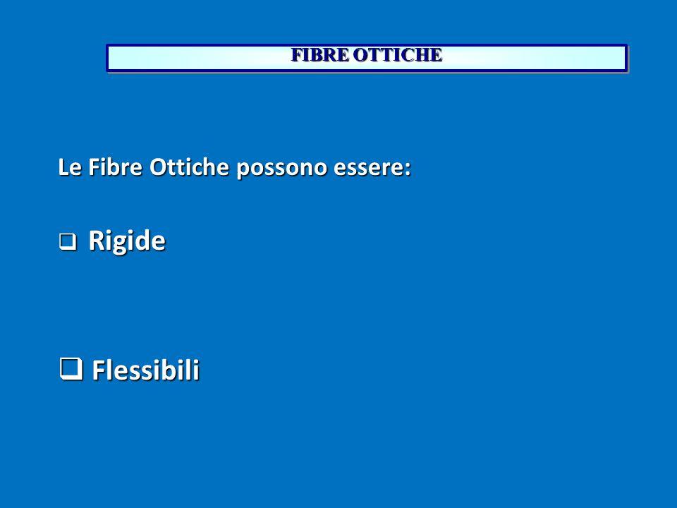 FIBRE OTTICHE Le Fibre Ottiche possono essere:  Rigide  Flessibili