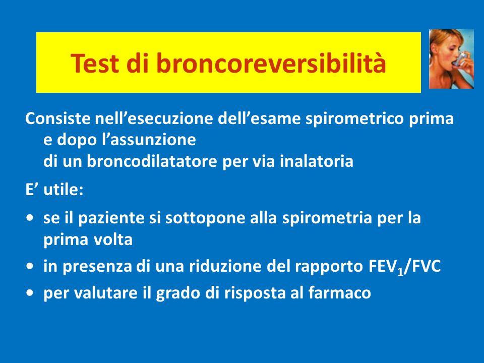 Test di broncoreversibilità Consiste nell'esecuzione dell'esame spirometrico prima e dopo l'assunzione di un broncodilatatore per via inalatoria E' ut