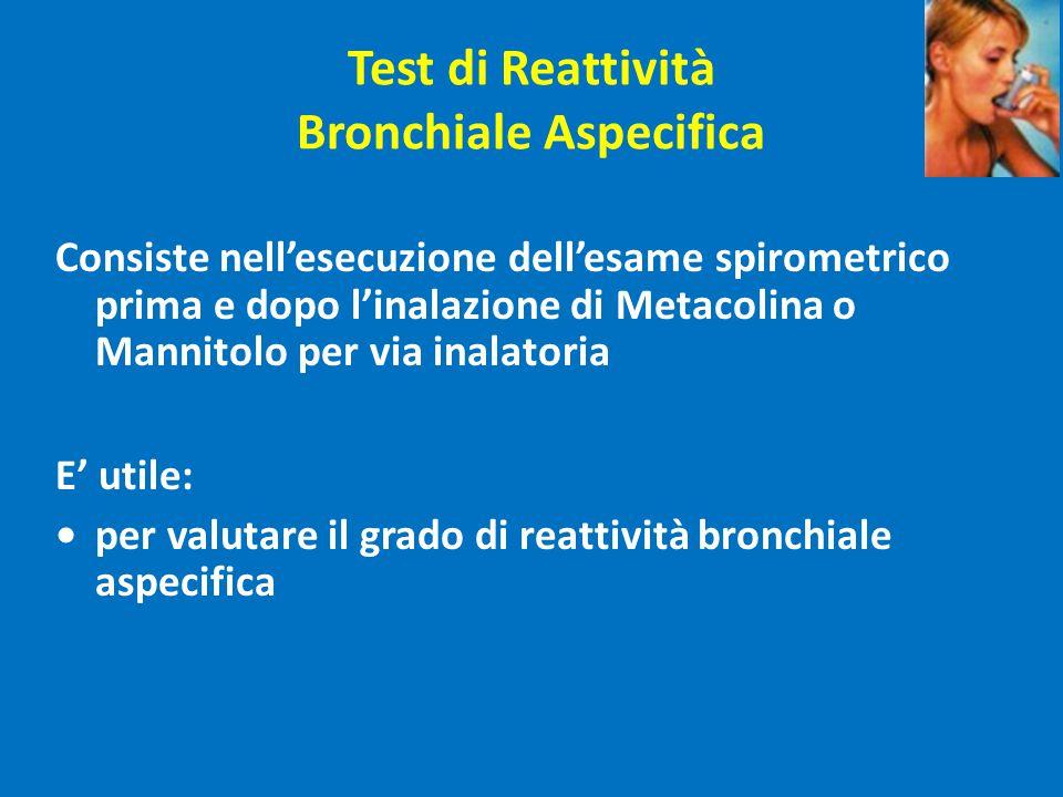 Test di Reattività Bronchiale Aspecifica Consiste nell'esecuzione dell'esame spirometrico prima e dopo l'inalazione di Metacolina o Mannitolo per via