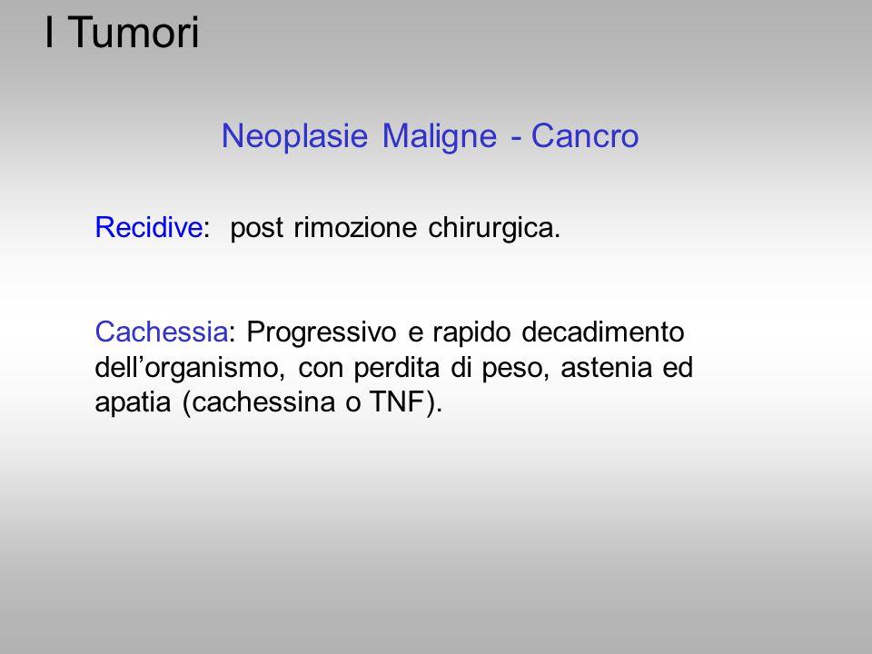 I Tumori Neoplasie Maligne - Cancro Recidive: post rimozione chirurgica. Cachessia: Progressivo e rapido decadimento dell'organismo, con perdita di pe