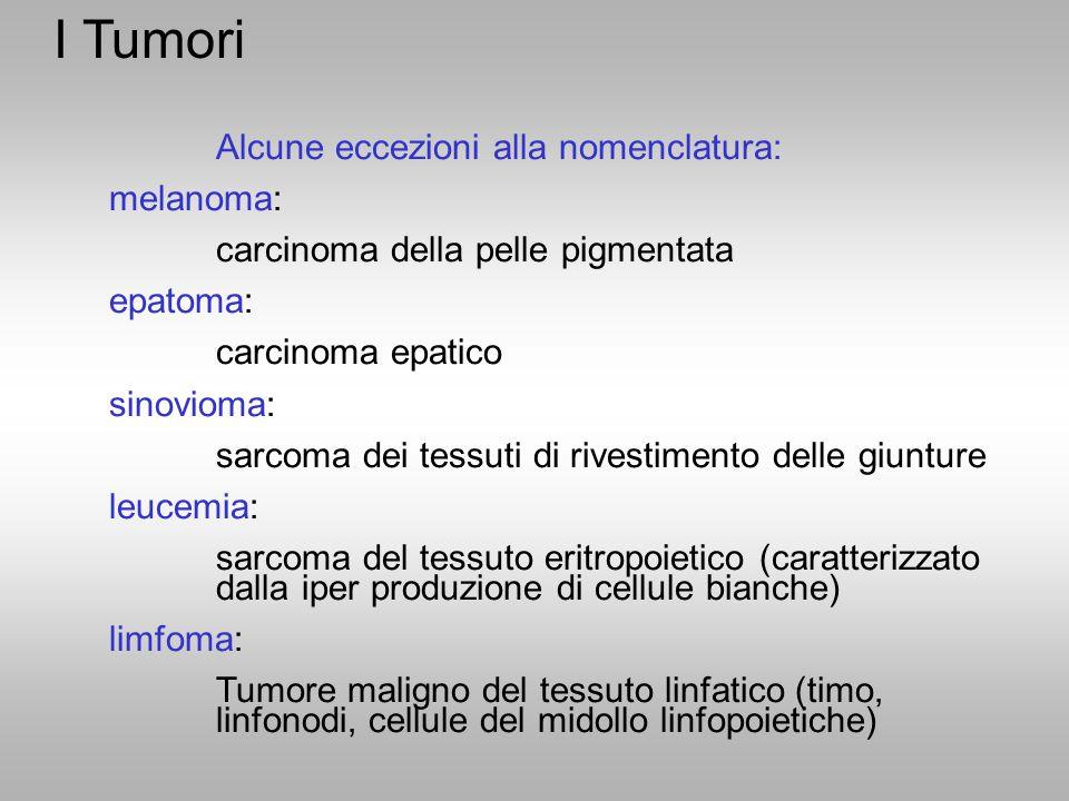 I Tumori Alcune eccezioni alla nomenclatura: melanoma: carcinoma della pelle pigmentata epatoma: carcinoma epatico sinovioma: sarcoma dei tessuti di r