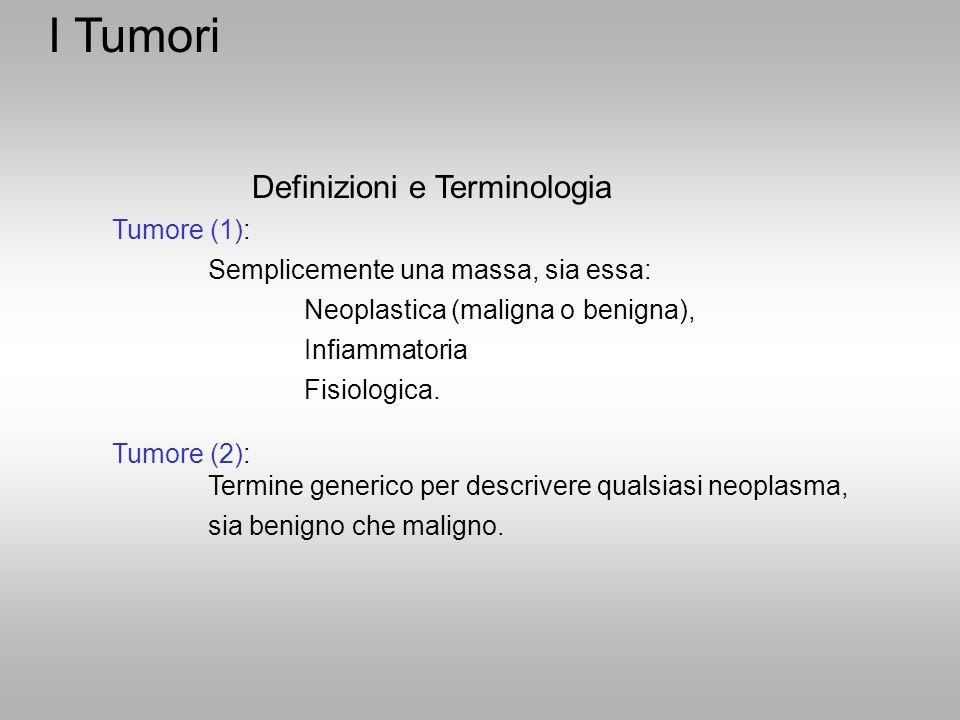 Definizioni e Terminologia Tumore (1): Semplicemente una massa, sia essa: Neoplastica (maligna o benigna), Infiammatoria Fisiologica. Tumore (2): Term