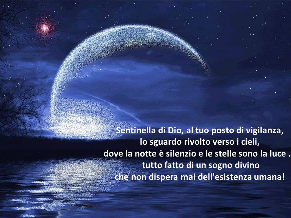 Sentinella di Dio, al tuo posto di vigilanza, lo sguardo rivolto verso i cieli, dove la notte è silenzio e le stelle sono la luce...