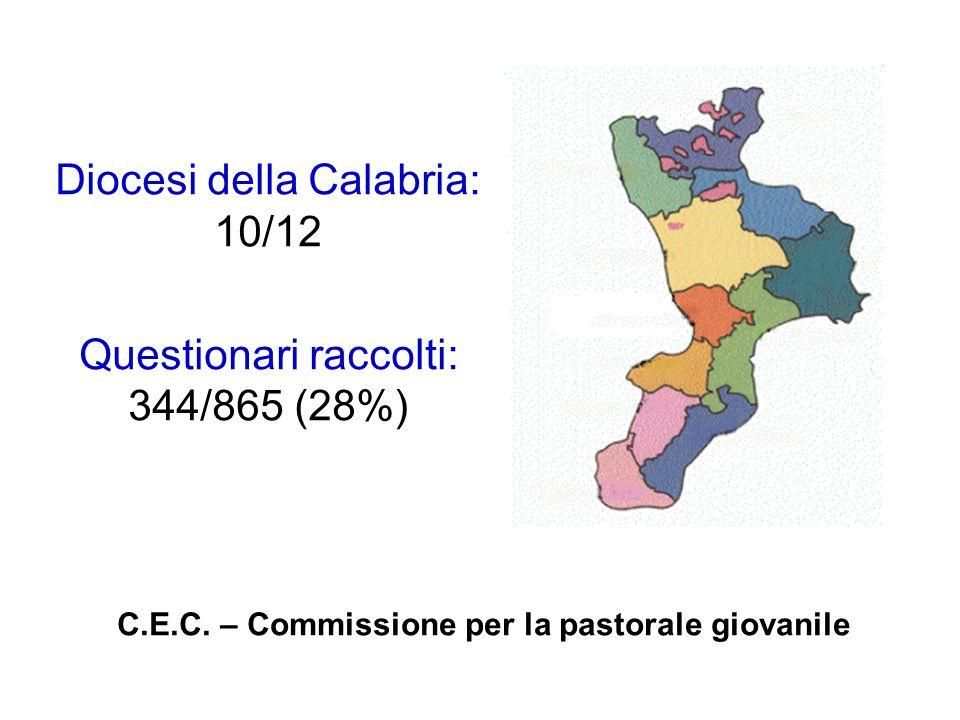 Diocesi della Calabria: 10/12 Questionari raccolti: 344/865 (28%) C.E.C.