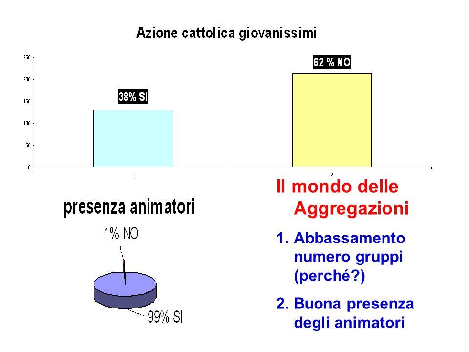 Il mondo delle Aggregazioni 1.Abbassamento numero gruppi (perché?) 2.Buona presenza degli animatori