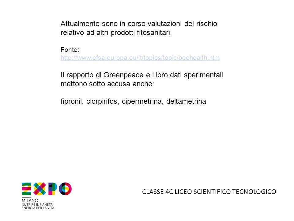 Attualmente sono in corso valutazioni del rischio relativo ad altri prodotti fitosanitari. Fonte: http://www.efsa.europa.eu/it/topics/topic/beehealth.