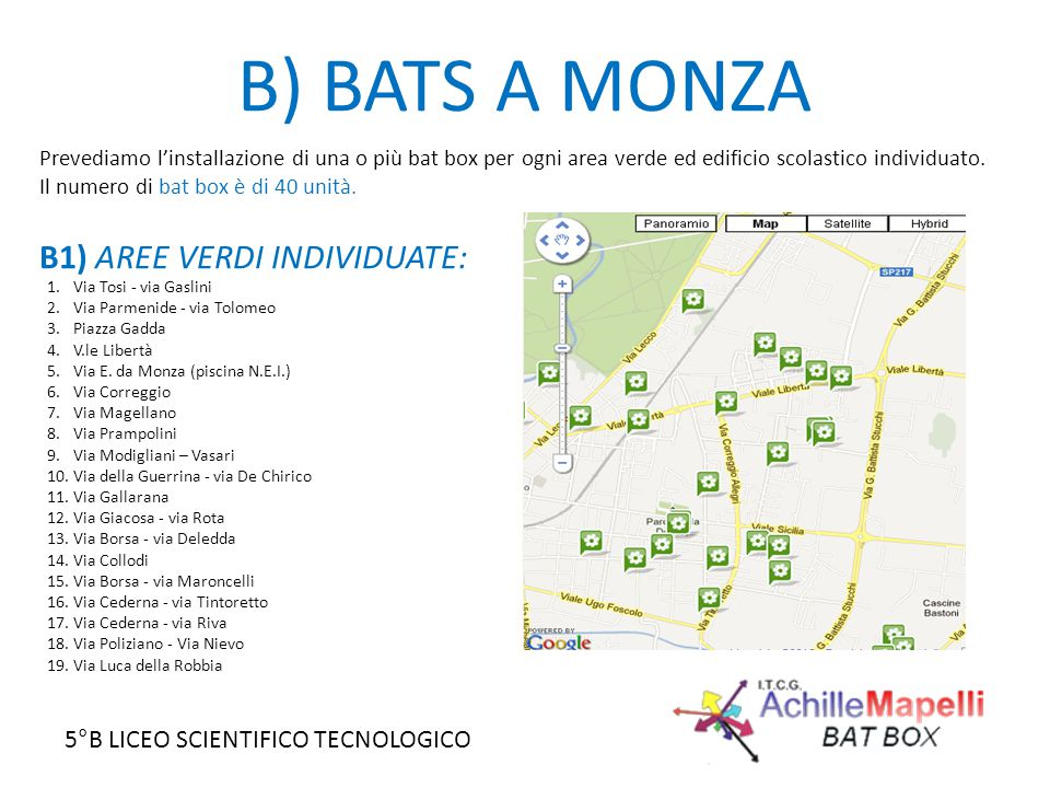 5°B LICEO SCIENTIFICO TECNOLOGICO B) BATS A MONZA B1) AREE VERDI INDIVIDUATE: 1.Via Tosi - via Gaslini 2.Via Parmenide - via Tolomeo 3.Piazza Gadda 4.