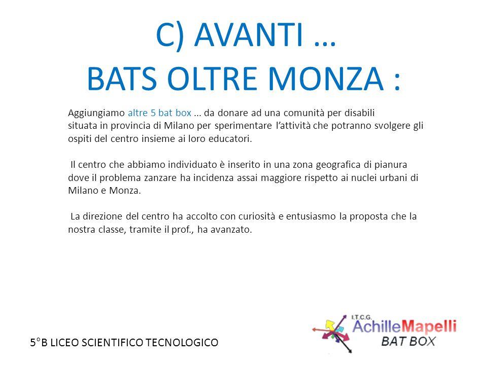 5°B LICEO SCIENTIFICO TECNOLOGICO C) AVANTI … BATS OLTRE MONZA : Aggiungiamo altre 5 bat box... da donare ad una comunità per disabili situata in prov