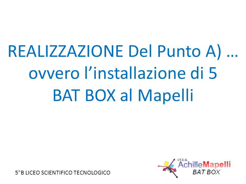 5°B LICEO SCIENTIFICO TECNOLOGICO REALIZZAZIONE Del Punto A) … ovvero l'installazione di 5 BAT BOX al Mapelli