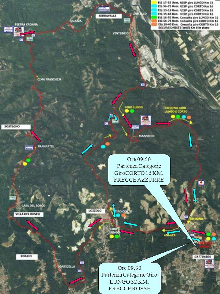 Ore 09.30 Partenza Categorie Giro LUNGO 32 KM.