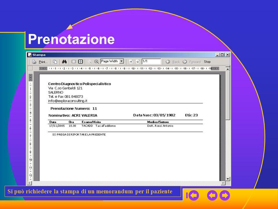 Prenotazione Si può richiedere la stampa di un memorandum per il paziente