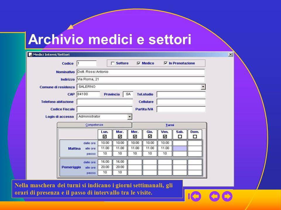 Archivio medici e settori Nella maschera dei turni si indicano i giorni settimanali, gli orari di presenza e il passo di intervallo tra le visite.
