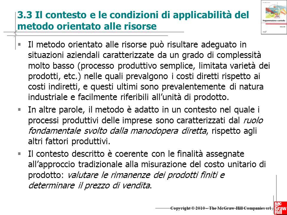 15 Copyright © 2010 – The McGraw-Hill Companies srl 3.3 Il contesto e le condizioni di applicabilità del metodo orientato alle risorse  Il metodo ori