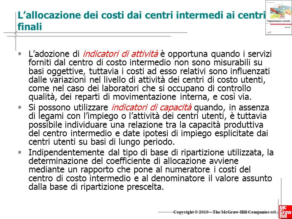 22 Copyright © 2010 – The McGraw-Hill Companies srl L'allocazione dei costi dai centri intermedi ai centri finali  L'adozione di indicatori di attivi