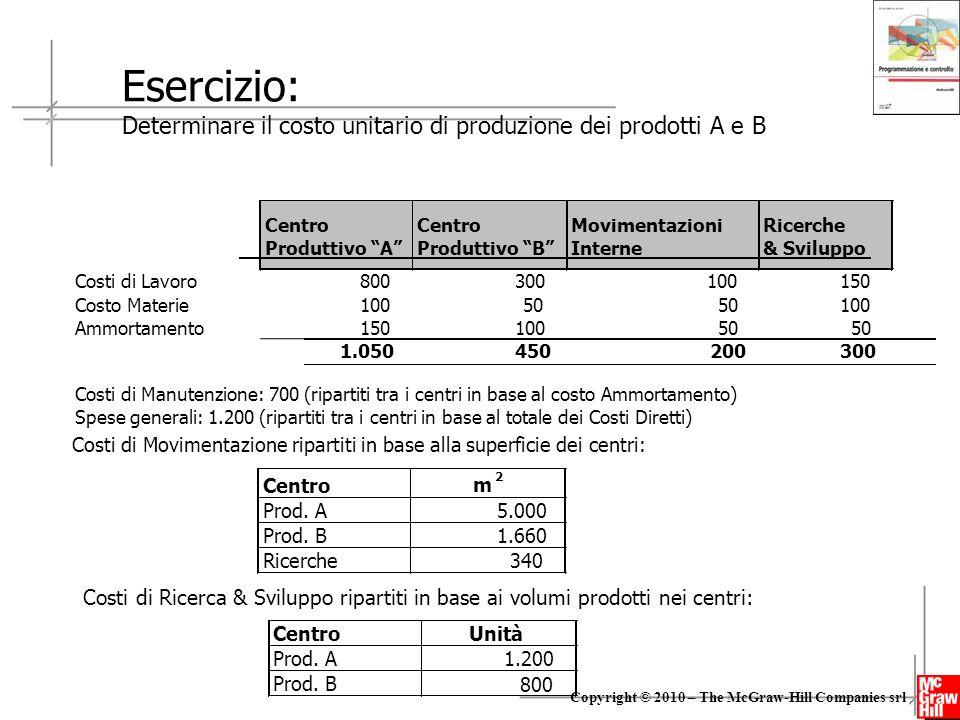 """24 Copyright © 2010 – The McGraw-Hill Companies srl Centro Produttivo """"A"""" Centro Produttivo """"B"""" Movimentazioni Interne Ricerche & Sviluppo Costi di La"""