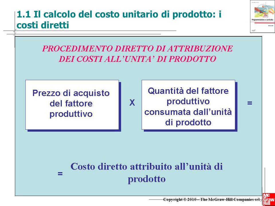 3 Copyright © 2010 – The McGraw-Hill Companies srl 1.1 Il calcolo del costo unitario di prodotto: i costi diretti