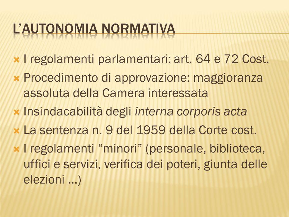  I regolamenti parlamentari: art. 64 e 72 Cost.