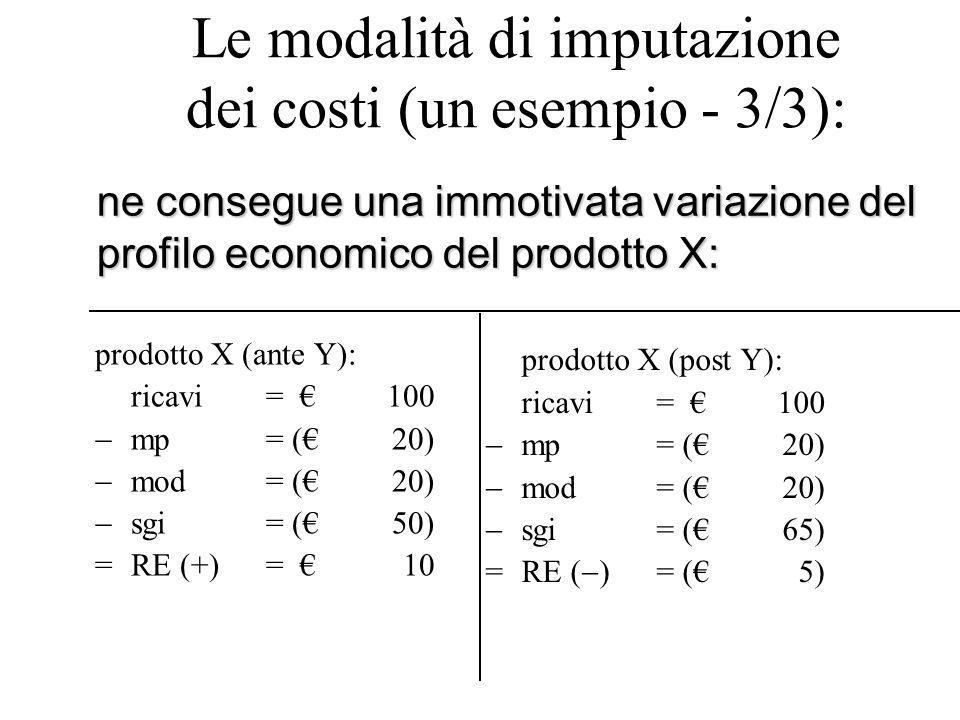 Le modalità di imputazione dei costi (un esempio - 3/3): prodotto X (ante Y): ricavi= €100  mp= (€20)  mod= (€20)  sgi= (€50) =RE (+)= €10 prodotto X (post Y): ricavi= €100  mp= (€20)  mod= (€20)  sgi= (€65) =RE (  )= (€5) ne consegue una immotivata variazione del profilo economico del prodotto X: