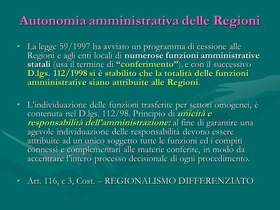 Autonomia amministrativa delle Regioni La legge 59/1997 ha avviato un programma di cessione alle Regioni e agli enti locali di numerose funzioni ammin