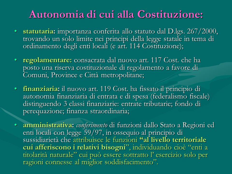 Autonomia di cui alla Costituzione: statutaria: importanza conferita allo statuto dal D.lgs. 267/2000, trovando un solo limite nei principi della legg