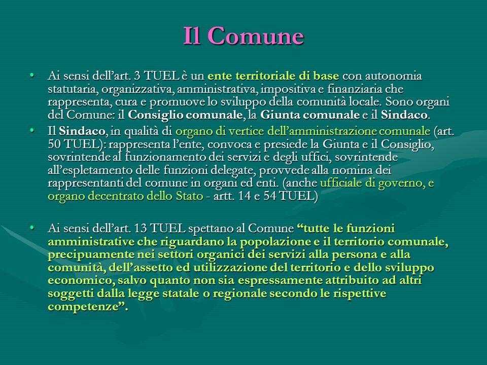 Il Comune Ai sensi dell'art. 3 TUEL è un ente territoriale di base con autonomia statutaria, organizzativa, amministrativa, impositiva e finanziaria c