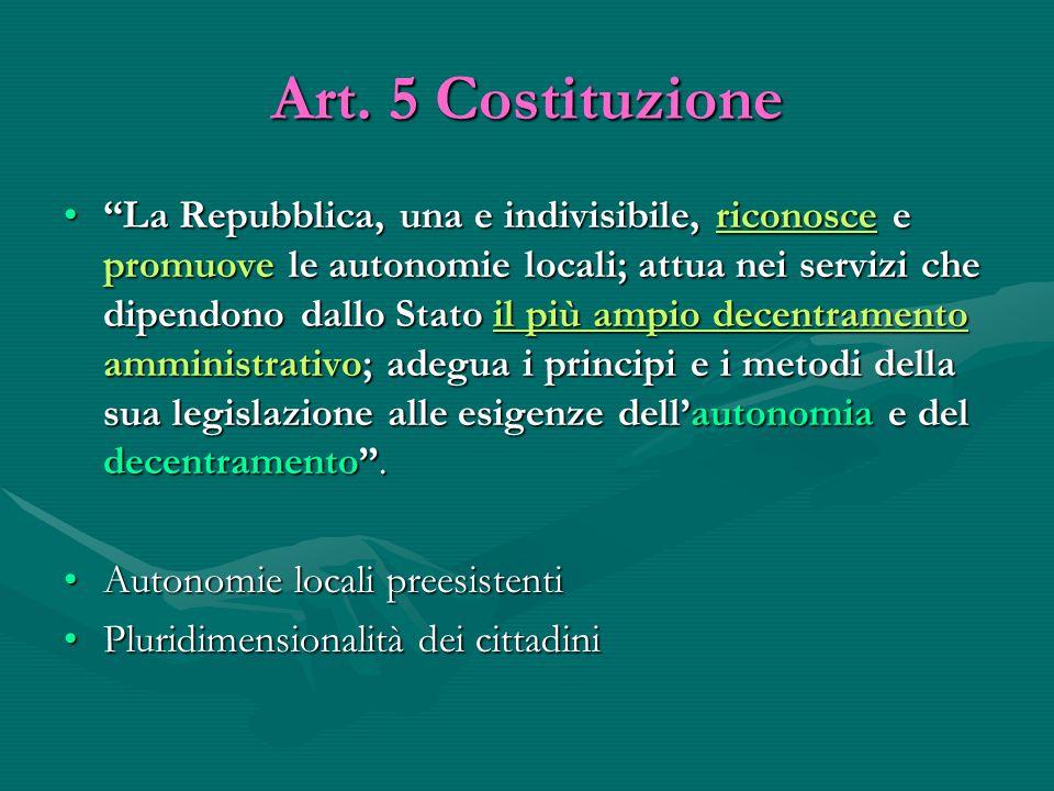 """Art. 5 Costituzione """"La Repubblica, una e indivisibile, riconosce e promuove le autonomie locali; attua nei servizi che dipendono dallo Stato il più a"""
