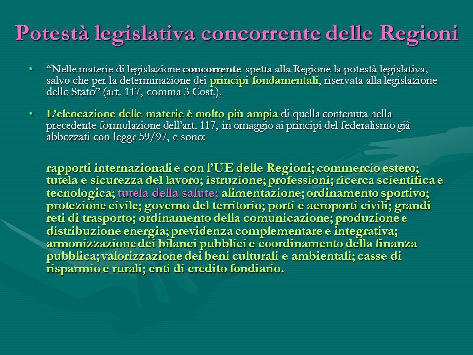"""Potestà legislativa concorrente delle Regioni """"Nelle materie di legislazione concorrente spetta alla Regione la potestà legislativa, salvo che per la"""