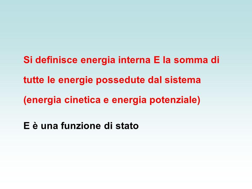Si definisce energia interna E la somma di tutte le energie possedute dal sistema (energia cinetica e energia potenziale) E è una funzione di stato