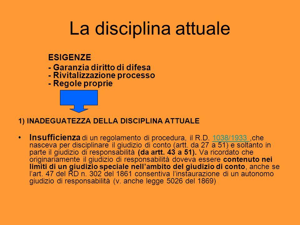 La disciplina attuale ESIGENZE - Garanzia diritto di difesa - Rivitalizzazione processo - Regole proprie 1) INADEGUATEZZA DELLA DISCIPLINA ATTUALE Insufficienza di un regolamento di procedura, il R.D.