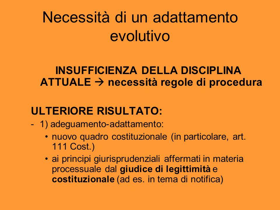 Necessità di un adattamento evolutivo INSUFFICIENZA DELLA DISCIPLINA ATTUALE  necessità regole di procedura ULTERIORE RISULTATO: - 1) adeguamento-adattamento: nuovo quadro costituzionale (in particolare, art.