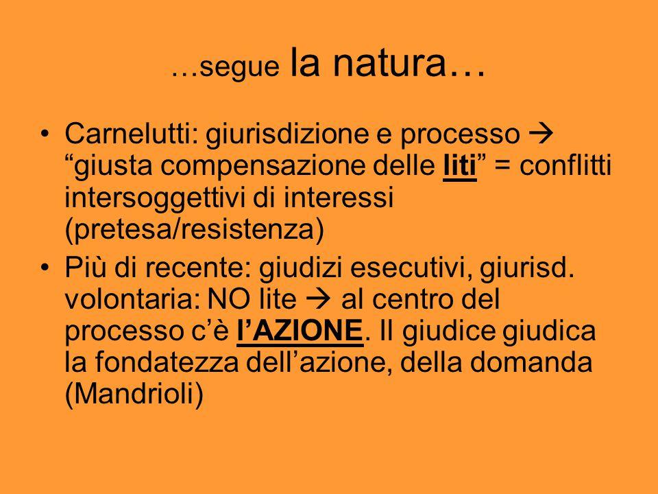 …segue la natura… Carnelutti: giurisdizione e processo  giusta compensazione delle liti = conflitti intersoggettivi di interessi (pretesa/resistenza) Più di recente: giudizi esecutivi, giurisd.