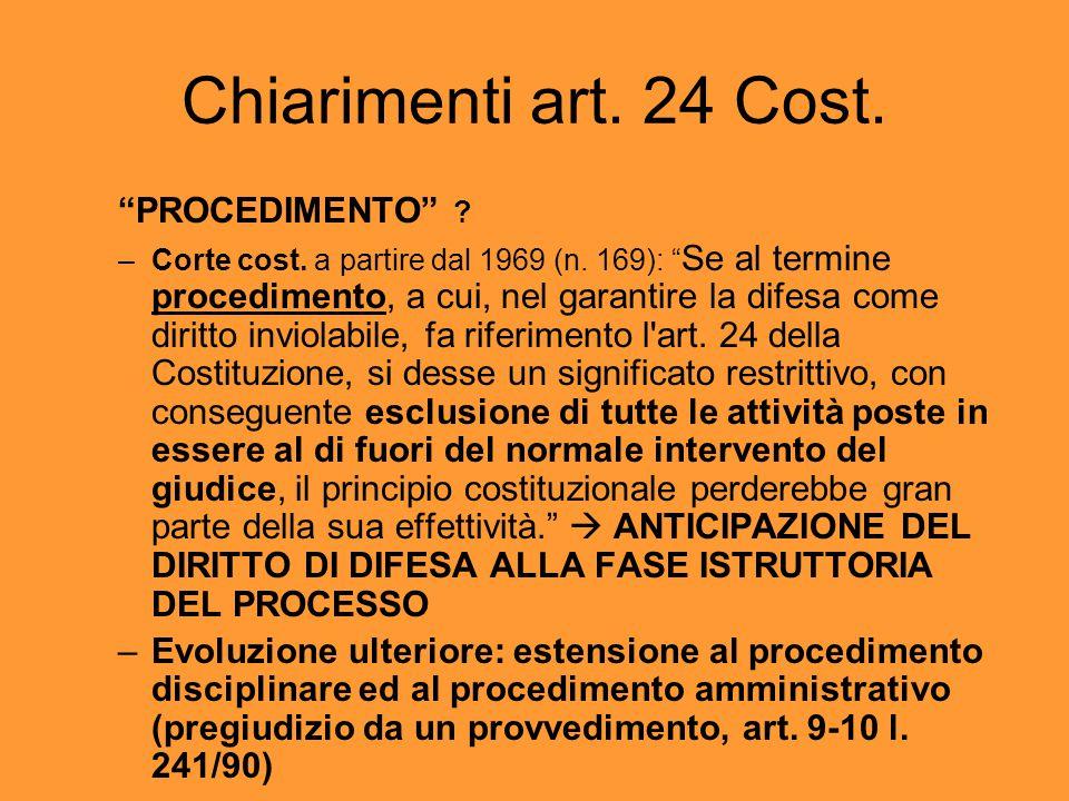 Chiarimenti art. 24 Cost. PROCEDIMENTO . –Corte cost.