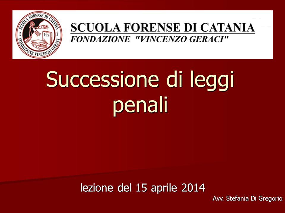 Successione di leggi penali lezione del 15 aprile 2014 Avv. Stefania Di Gregorio