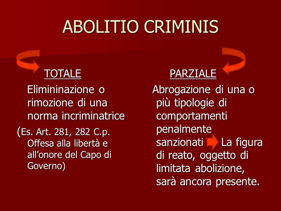 ABOLITIO CRIMINIS TOTALE TOTALE Elimininazione o rimozione di una norma incriminatrice Elimininazione o rimozione di una norma incriminatrice ( Es. Ar