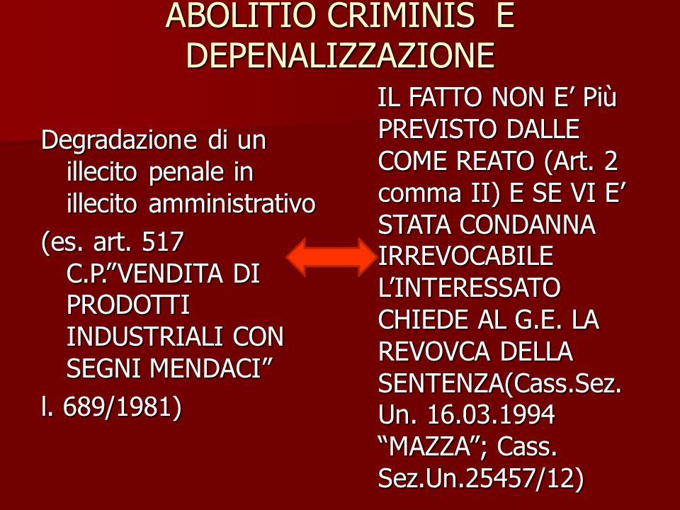 ABOLITIO CRIMINIS E DEPENALIZZAZIONE IL FATTO NON E' Più PREVISTO DALLE COME REATO (Art. 2 comma II) E SE VI E' STATA CONDANNA IRREVOCABILE L'INTERESS