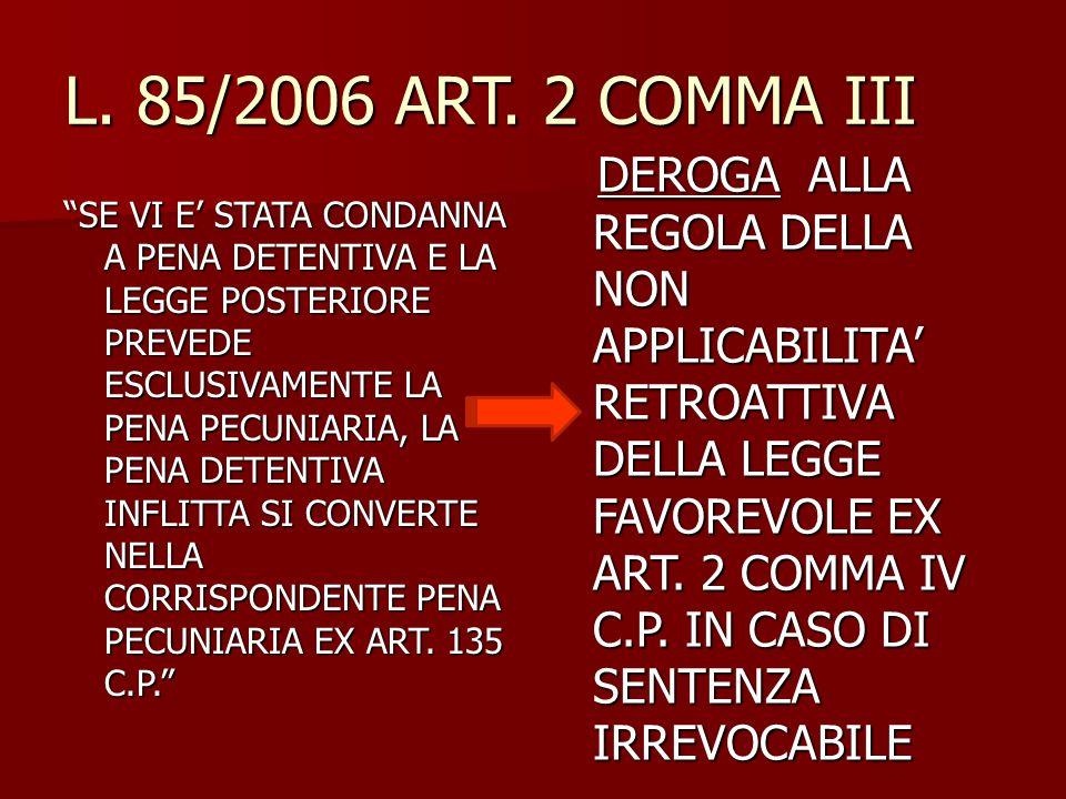 """L. 85/2006 ART. 2 COMMA III """"SE VI E' STATA CONDANNA A PENA DETENTIVA E LA LEGGE POSTERIORE PREVEDE ESCLUSIVAMENTE LA PENA PECUNIARIA, LA PENA DETENTI"""