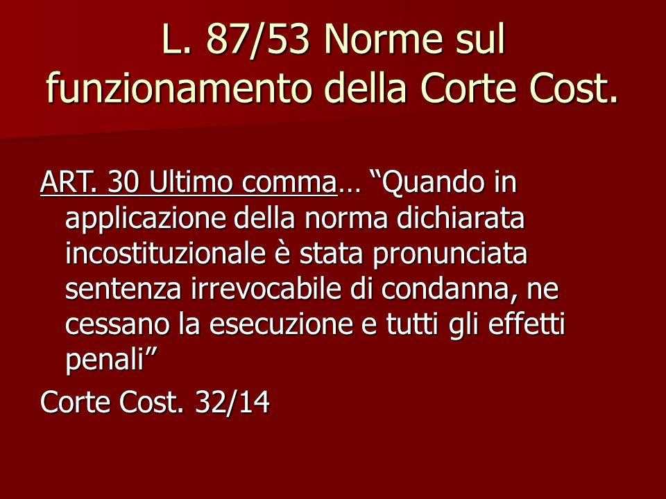 """L. 87/53 Norme sul funzionamento della Corte Cost. ART. 30 Ultimo comma… """"Quando in applicazione della norma dichiarata incostituzionale è stata pronu"""