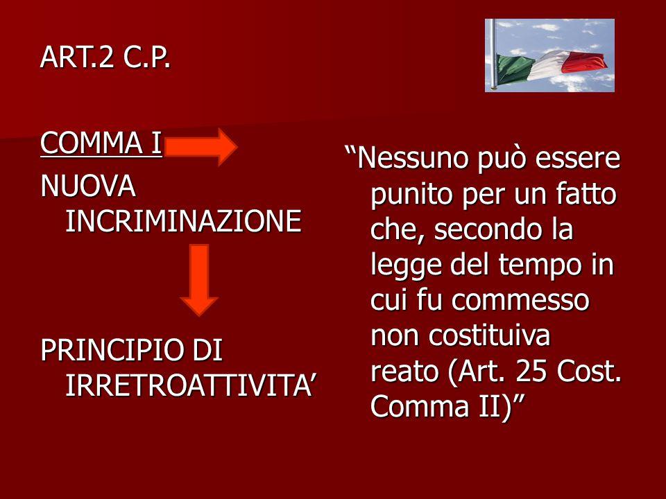 """ART.2 C.P. COMMA I NUOVA INCRIMINAZIONE PRINCIPIO DI IRRETROATTIVITA' """"Nessuno può essere punito per un fatto che, secondo la legge del tempo in cui f"""