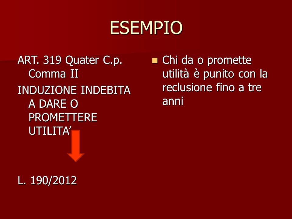 ESEMPIO ART. 319 Quater C.p. Comma II INDUZIONE INDEBITA A DARE O PROMETTERE UTILITA' L. 190/2012 Chi da o promette utilità è punito con la reclusione