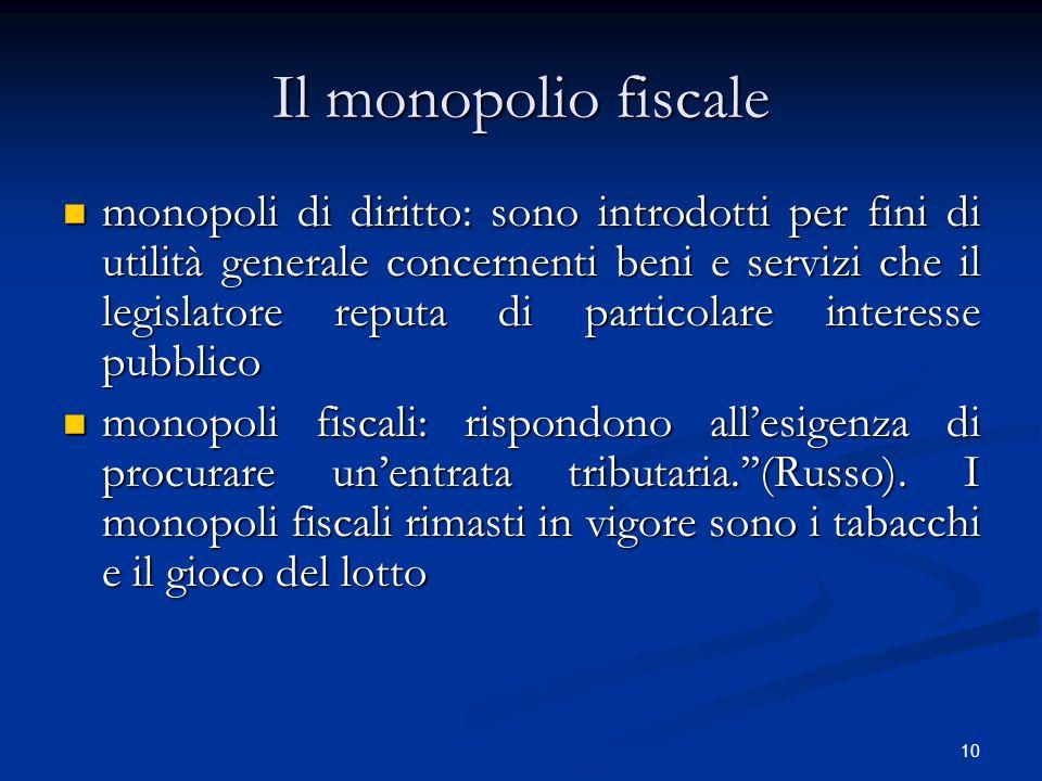 10 Il monopolio fiscale monopoli di diritto: sono introdotti per fini di utilità generale concernenti beni e servizi che il legislatore reputa di part