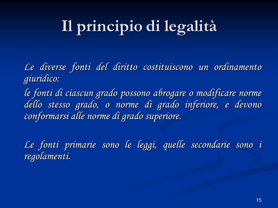 15 Il principio di legalità Le diverse fonti del diritto costituiscono un ordinamento giuridico: le fonti di ciascun grado possono abrogare o modifica