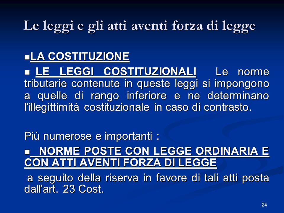 24 Le leggi e gli atti aventi forza di legge LA COSTITUZIONE LA COSTITUZIONE  LE LEGGI COSTITUZIONALI Le norme tributarie contenute in queste leggi