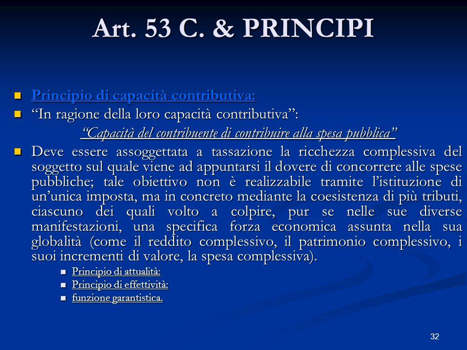 "32 Art. 53 C. & PRINCIPI Principio di capacità contributiva: Principio di capacità contributiva: ""In ragione della loro capacità contributiva"": ""In ra"