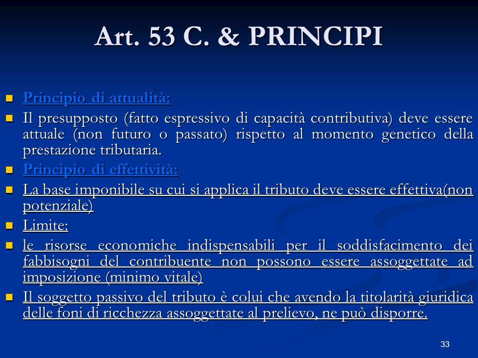 33 Art. 53 C. & PRINCIPI Principio di attualità: Principio di attualità: Il presupposto (fatto espressivo di capacità contributiva) deve essere attual
