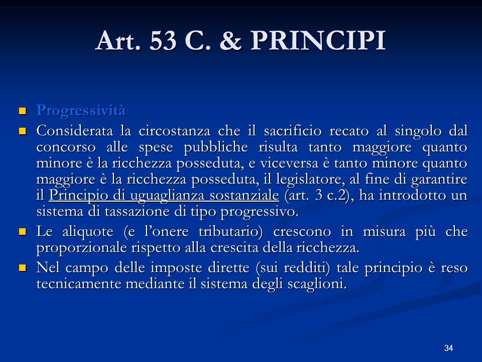 34 Art. 53 C. & PRINCIPI Progressività Progressività Considerata la circostanza che il sacrificio recato al singolo dal concorso alle spese pubbliche